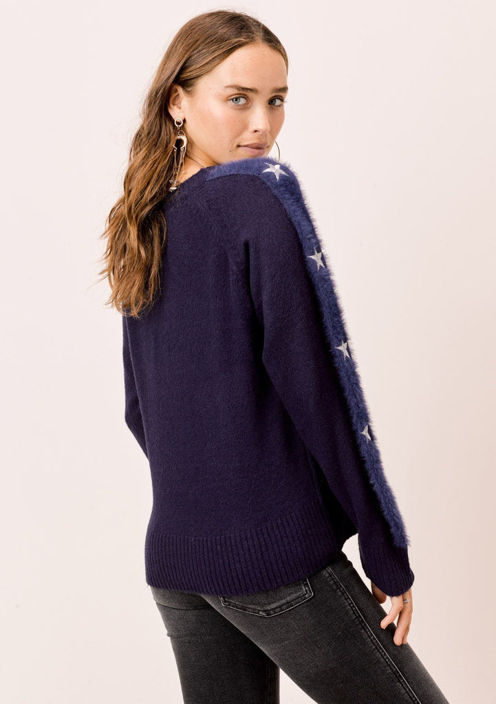 [Color: Navy/Silver] Lovestitch navy/silver Long sleeve, crewneck sweater with fuzzy, embroidered star sleeve detail.