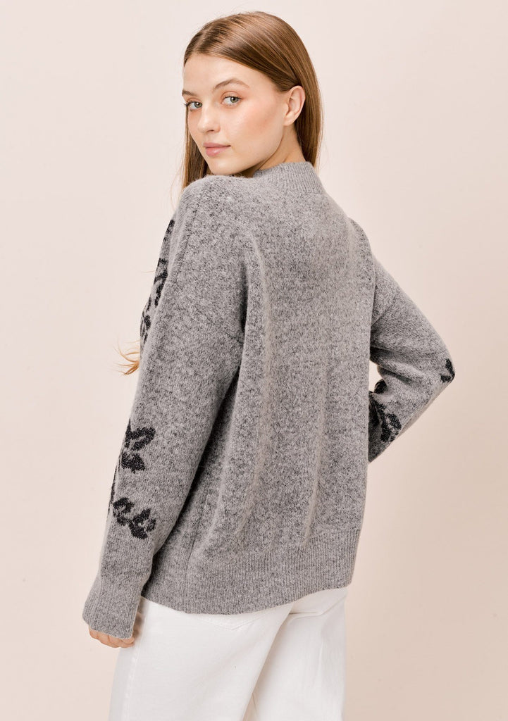 [Color: HeatherGrey/Midnight] Lovestitch heathergrey/midnight long sleeve, crew neck sweater with ribbed details and metallic floral jacquard design.