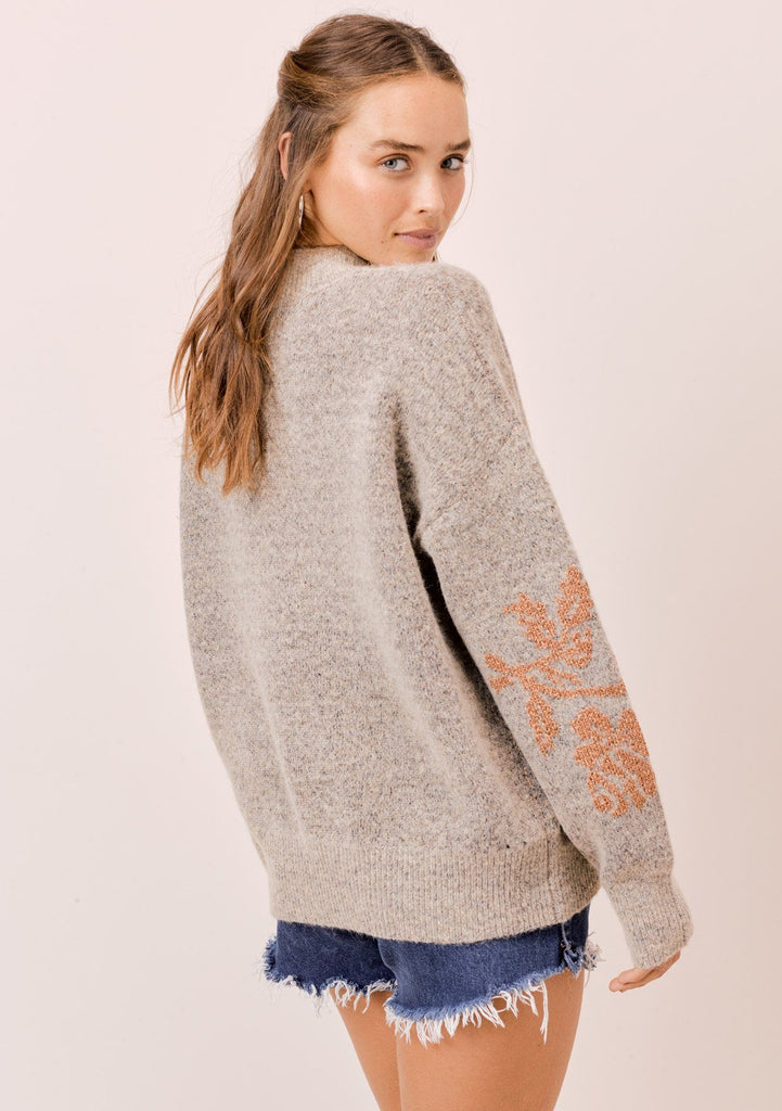 [Color: HeatherTaupe/Copper] Lovestitch heathertaupe/copper long sleeve, crew neck sweater with ribbed details and metallic floral jacquard design.