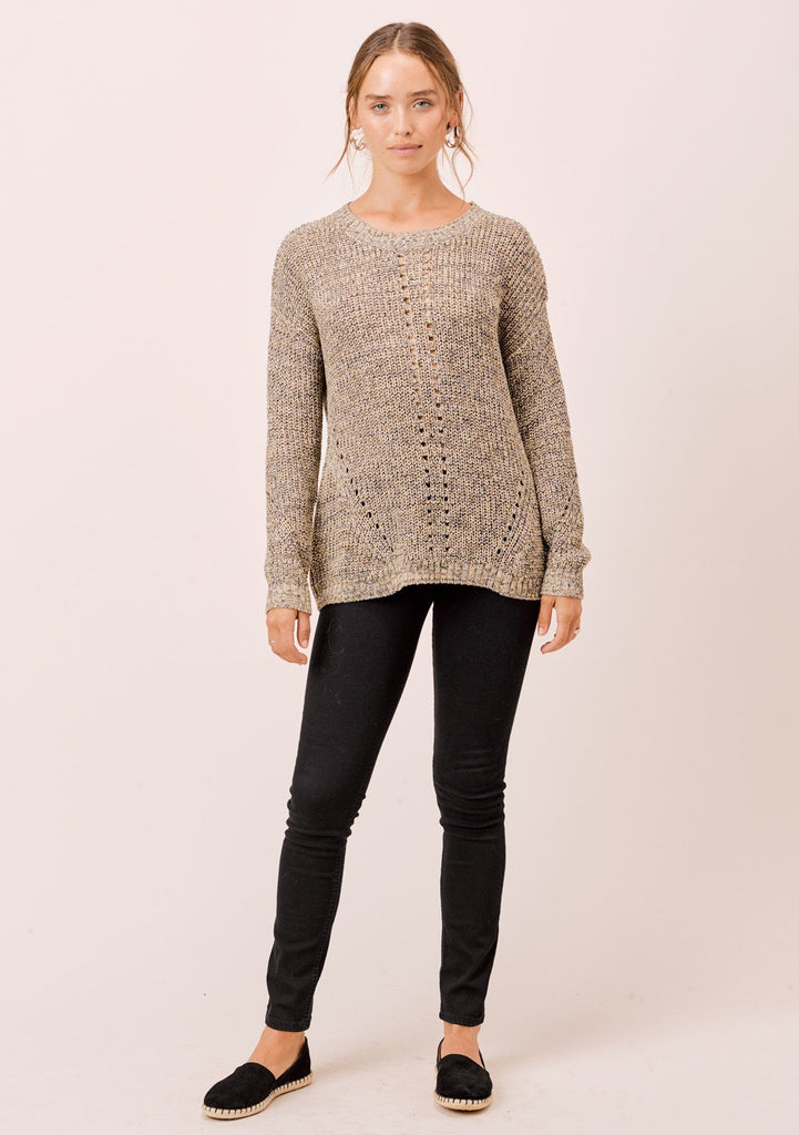 [Color: Khaki/Multi] Lovestitch khaki/multi, long sleeve, fine gauge, crewneck sweater with twisted, open back detail.