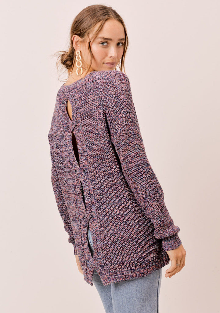 [Color: Blue/Multi] Lovestitch blue/multi, long sleeve, fine gauge, crewneck sweater with twisted, open back detail.