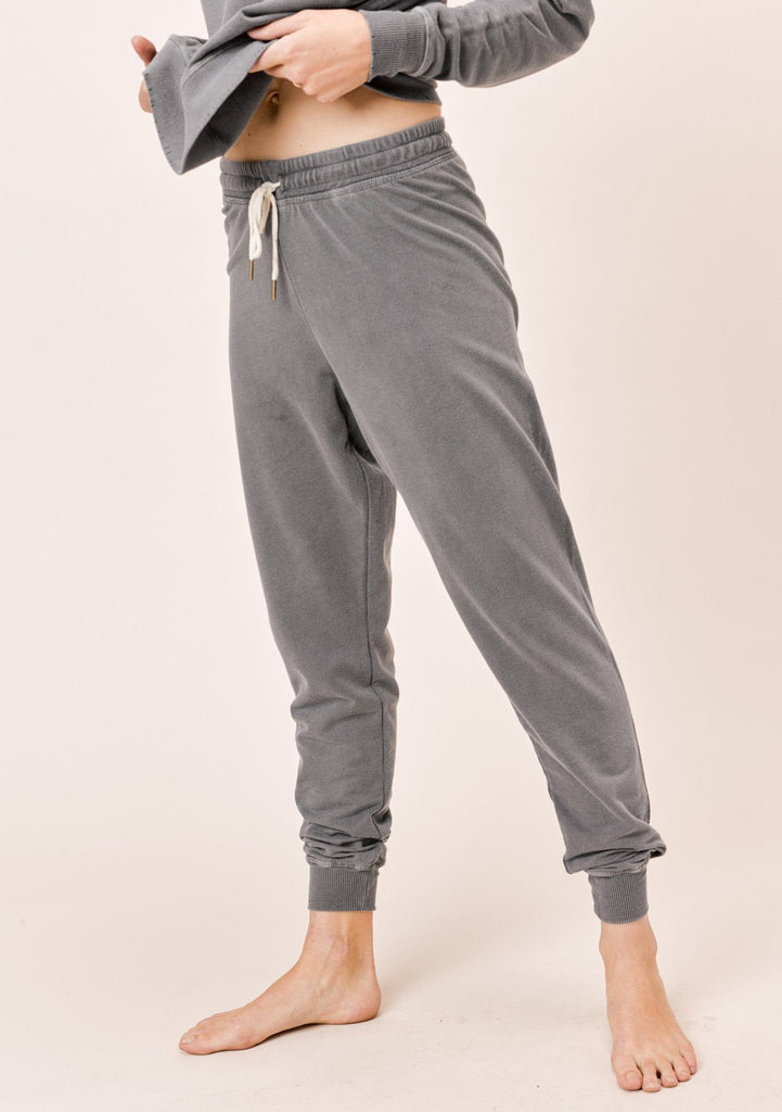 [Color: Charcoal] Lovestitch Charcoal French Terry Vintage Wash Jogger Sweatpant
