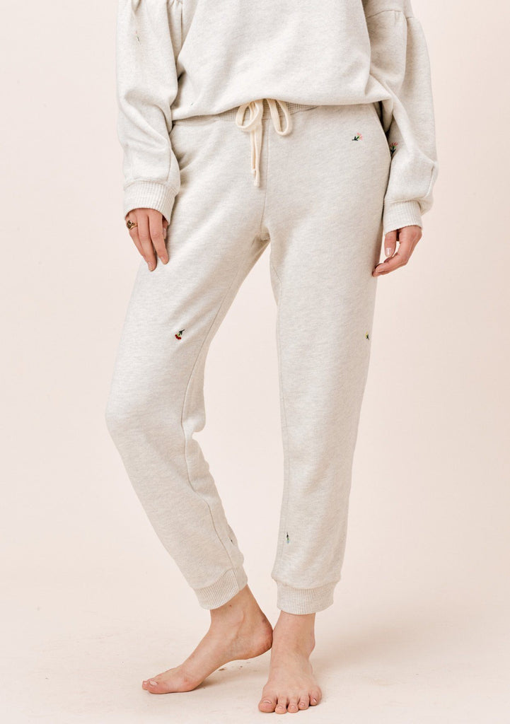 [Color: Oatmeal] Lovestitch Floral embroidered jogger pant