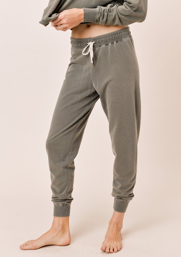 [Color: Olive] Lovestitch Olive Green French Terry Vintage Wash Jogger Sweatpant