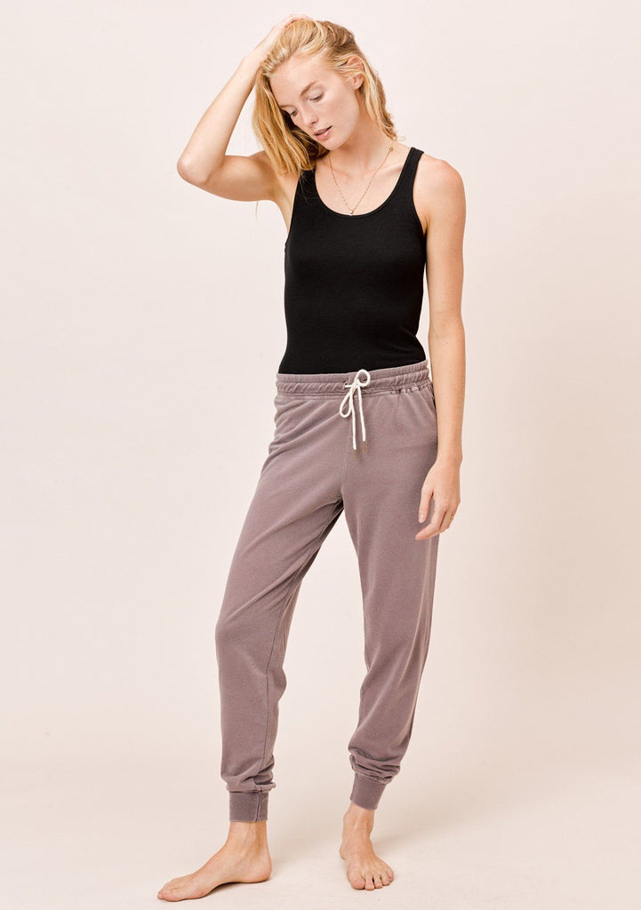 [Color: Vintage Plum] Lovestitch Vintage Plum French Terry Vintage Wash Jogger Sweatpant