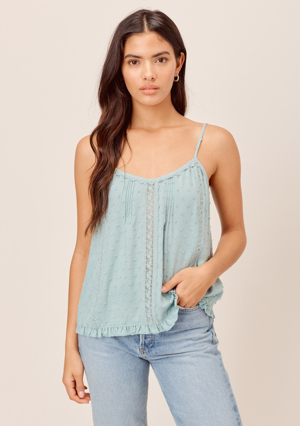 [Color: Seafoam] Lovestitch seafoam Bohemian, swiss dot cami with adjustable spaghetti straps and lace trim detail.