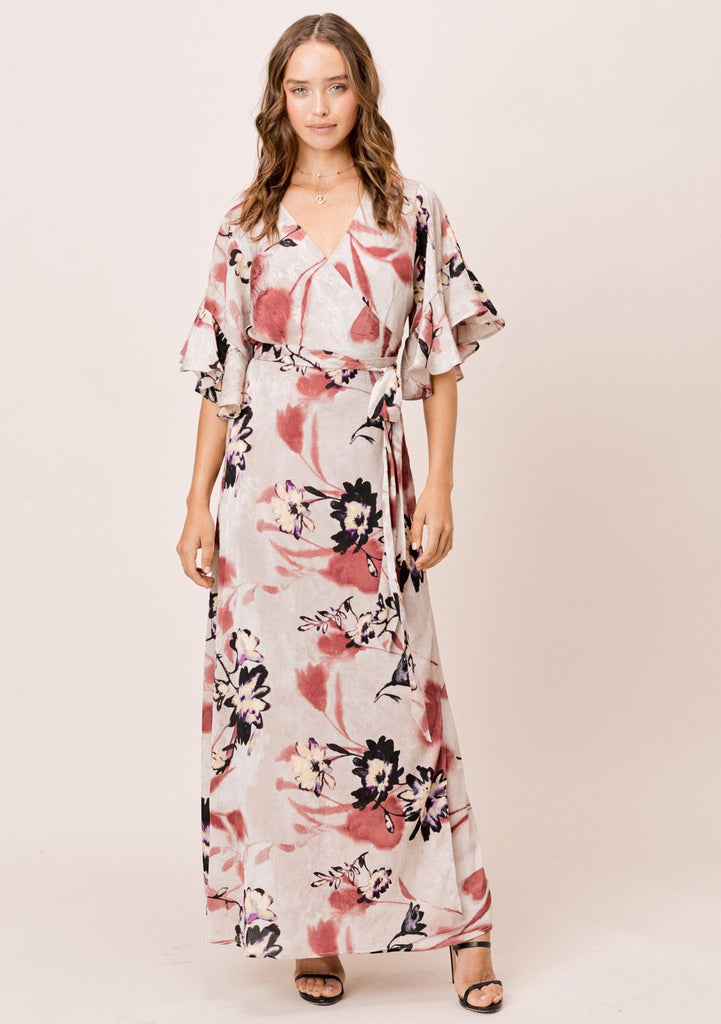[Color: Taupe] Lovestitch taupe Floral Wrap Maxi Dress with ruffled flutter sleeve