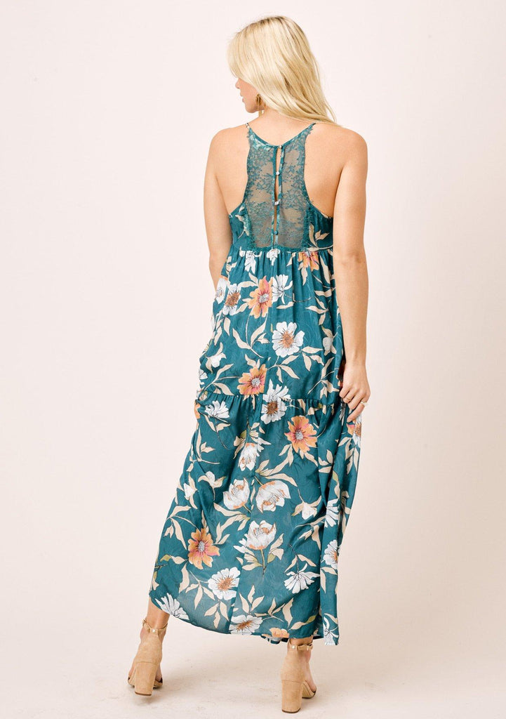 [Color: Teal/Caramel] Lovestitch teal/caramel sexy, vintage inspired, large floral print, lace back, tiered slip maxi dress