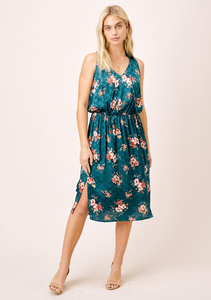 [Color: Teal/Rose] Lovestitch teal/rose watercolor rose printed, sleeveless midi dress with ruffle neck.