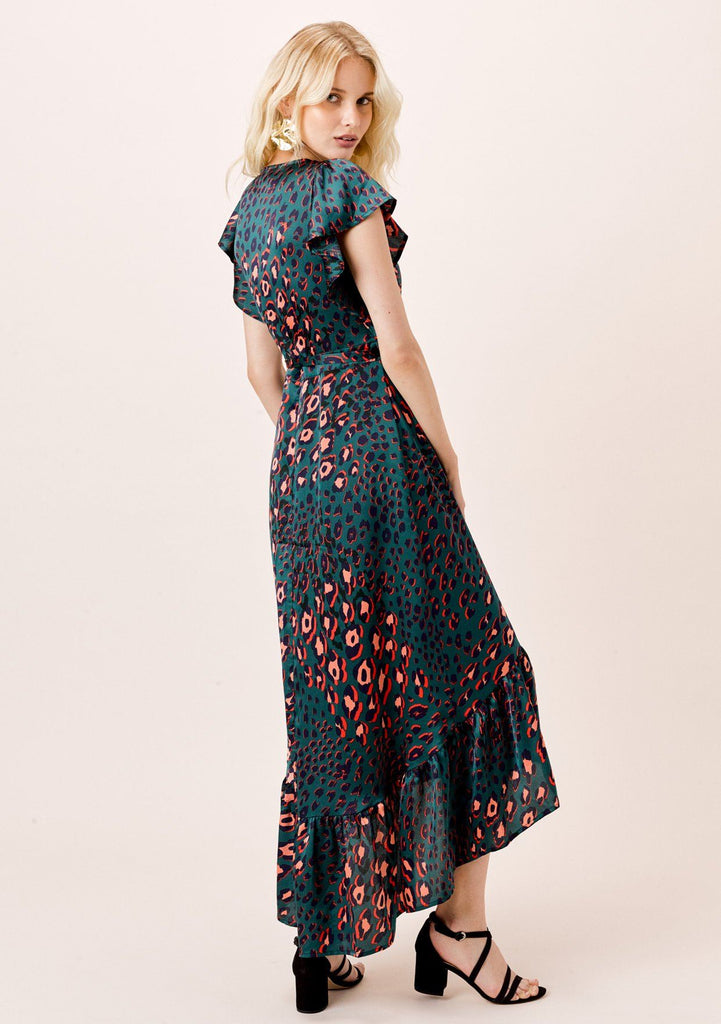 [Color: Teal] Lovestitch silky teal watercolor leopard print, flutter sleeve maxi wrap dress