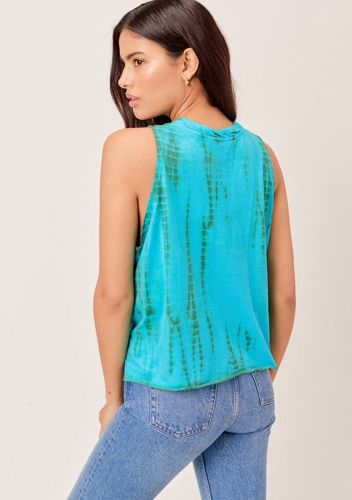[Color: Aqua/Green] Lovestitch aqua/green super soft, color block tie-dye muscle tee with twisted crew neck.
