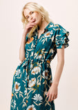 [Color: Teal/Caramel] Lovestitch teal/caramel sexy, vintage inspired, large floral print, short sleeve tiered maxi dress