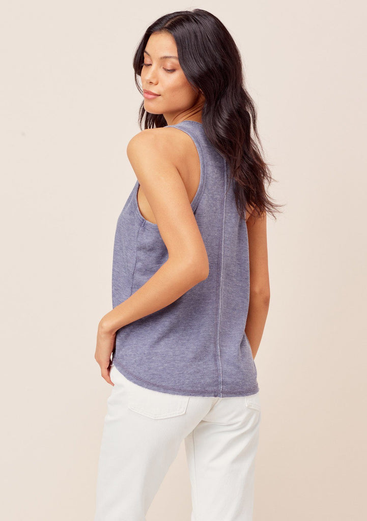 [Color: Indigo] Lovestitch Indigo Thermal, racerback tank top in burn-out wash with exposed seams. Great tank for layering!