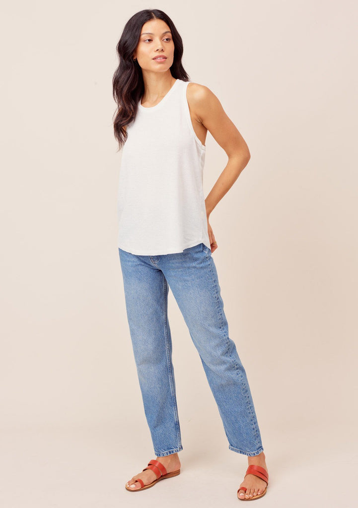 [Color: White] Lovestitch White Thermal, racerback tank top in burn-out wash with exposed seams. Great tank for layering!