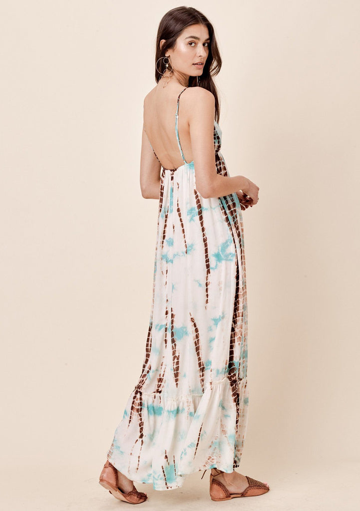 [Color: Aqua/Caramel]  Lovestitch tie-dye beach maxi dress with ruffled bottom