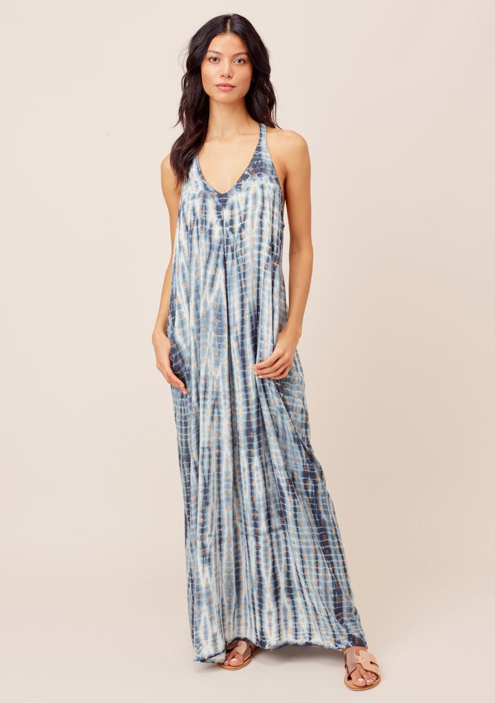 [Color: Navy/Copper] Lovestitch Navy/Copper Textured tie-dye, pleated, racerback maxi dress with side pockets and metallic details.