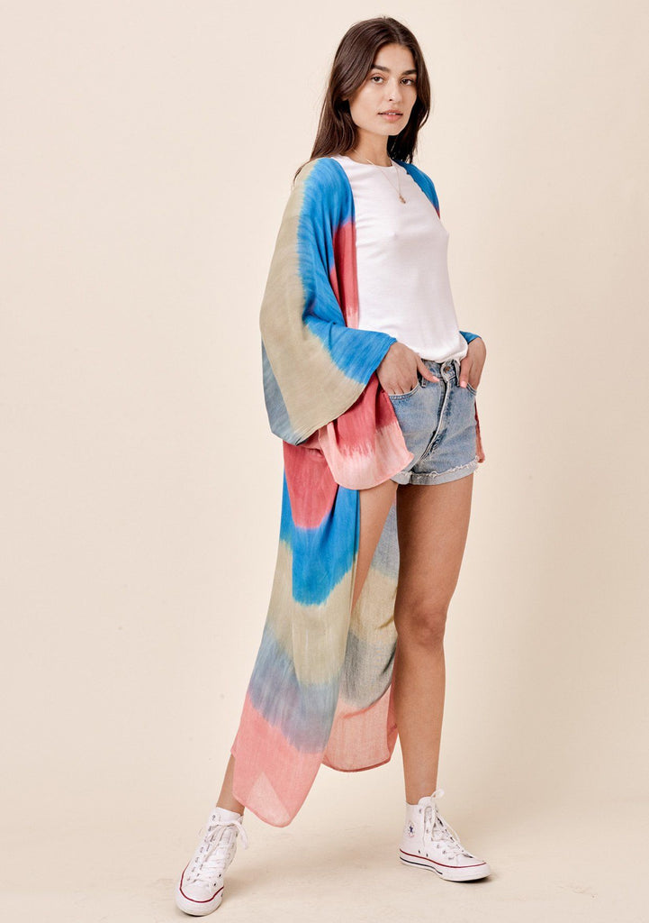 [Color: Sunrise] Lovestitch lightweight feathery full-length red and blue tie dye kimono with a flyaway sleeve.
