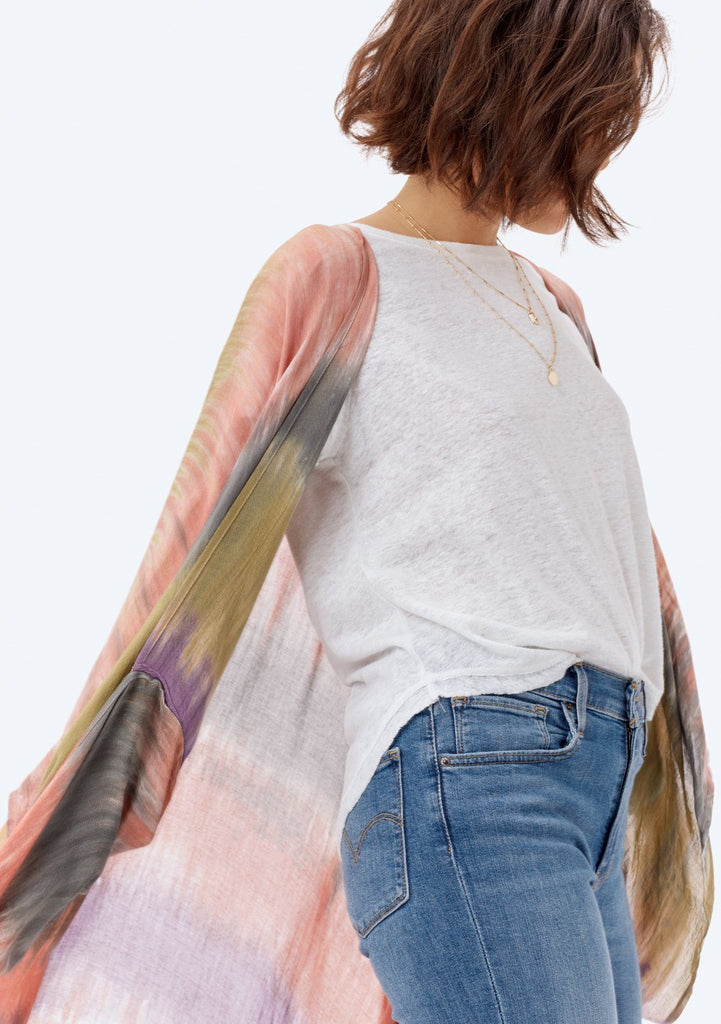 [Color: Tie Dye] Lovestitch long open kimono in tie-dye stripe
