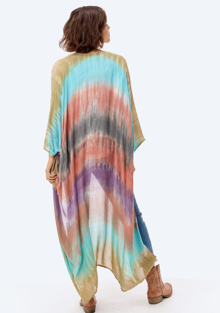 [Color: Tie Dye] Lovestitch lightweight feathery full-length purple and grey and teal tie dye kimono with a flyaway sleeve.