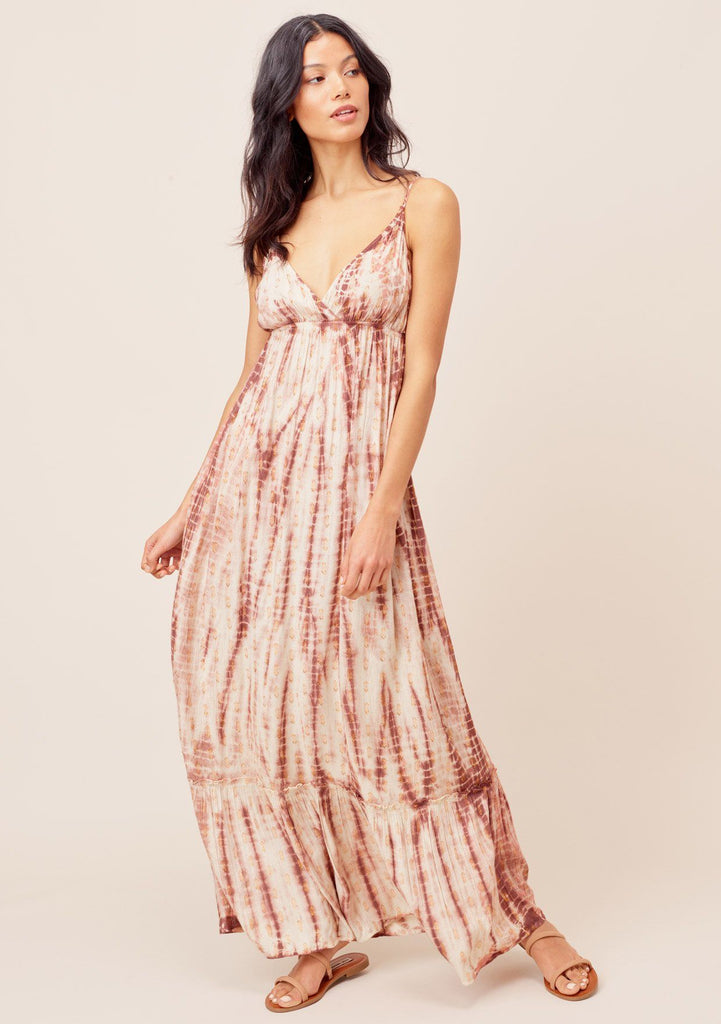 [Color: Blush/Copper] Lovestitch blush/copper Super soft, lightweight, tie-dye maxi dress with plunging V-neckline, metallic details and tiered, ruffled bottom.