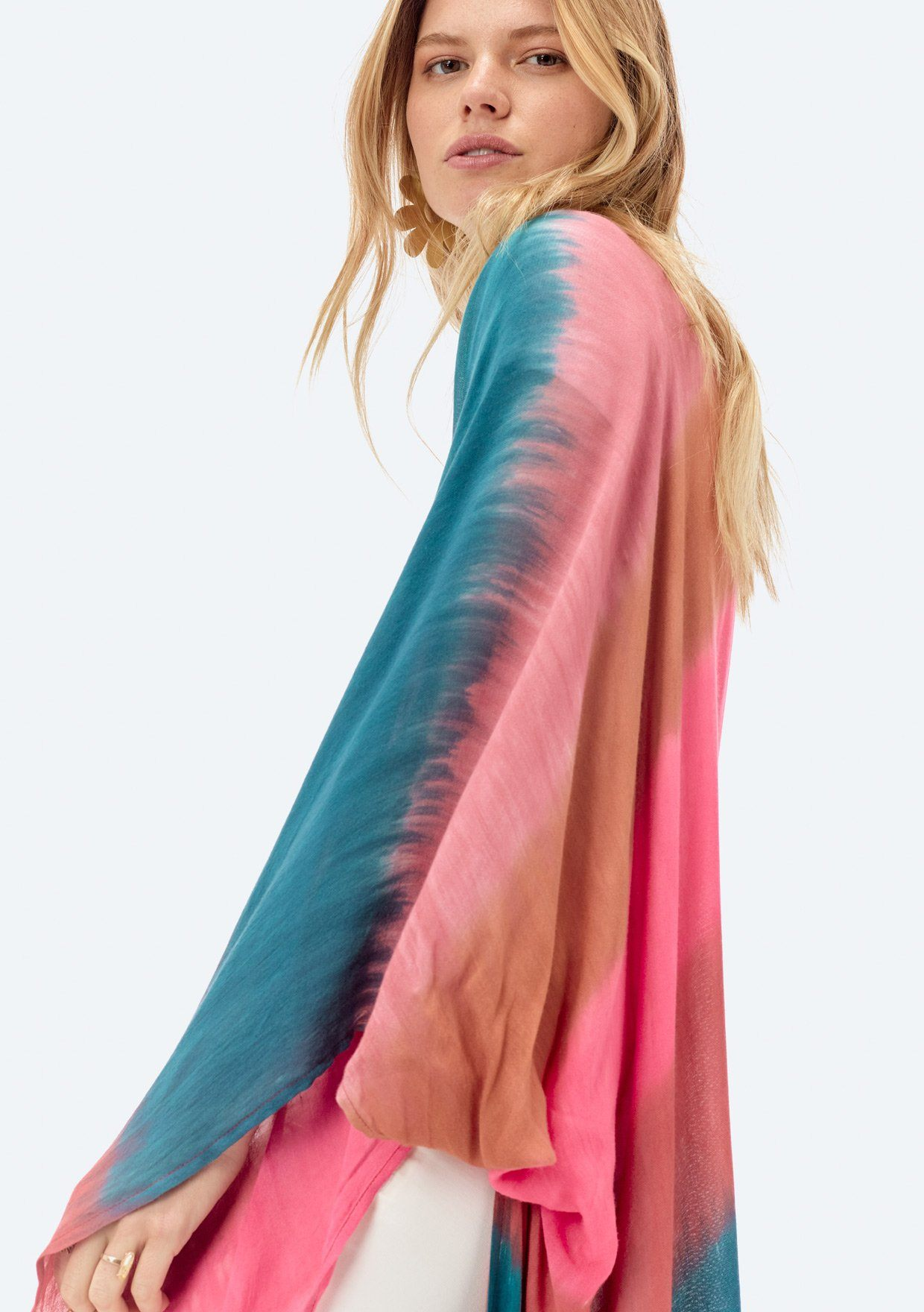 [Color: Sunset] Lovestitch long open kimono in tie-dye stripe