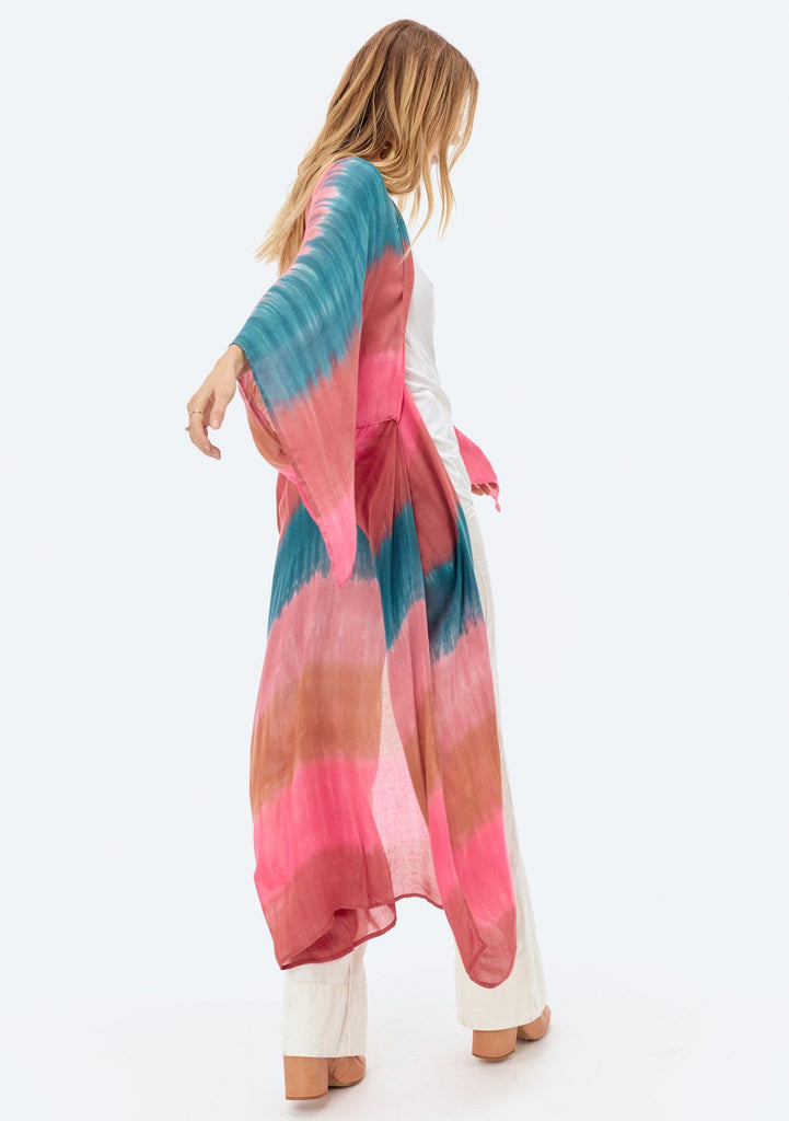 [Color: Sunset] Lovestitch lightweight feathery full-length pink and blue tie dye kimono with a flyaway sleeve.