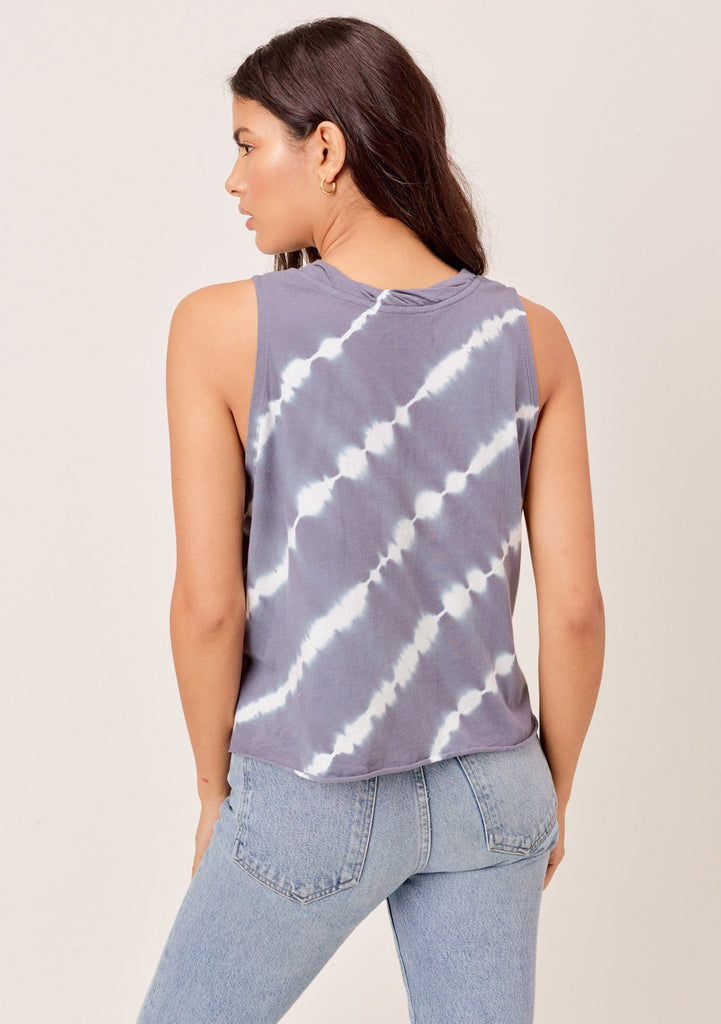[Color: Blue/White] Lovestitch blue/white super soft, color block tie-dye muscle tee with twisted crew neck.