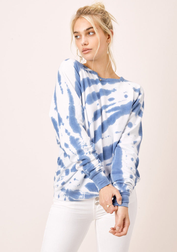 [Color: White/Blue] Lovestitch White & Blue Tie Dye Fleece Raglan Crewneck Pullover Top