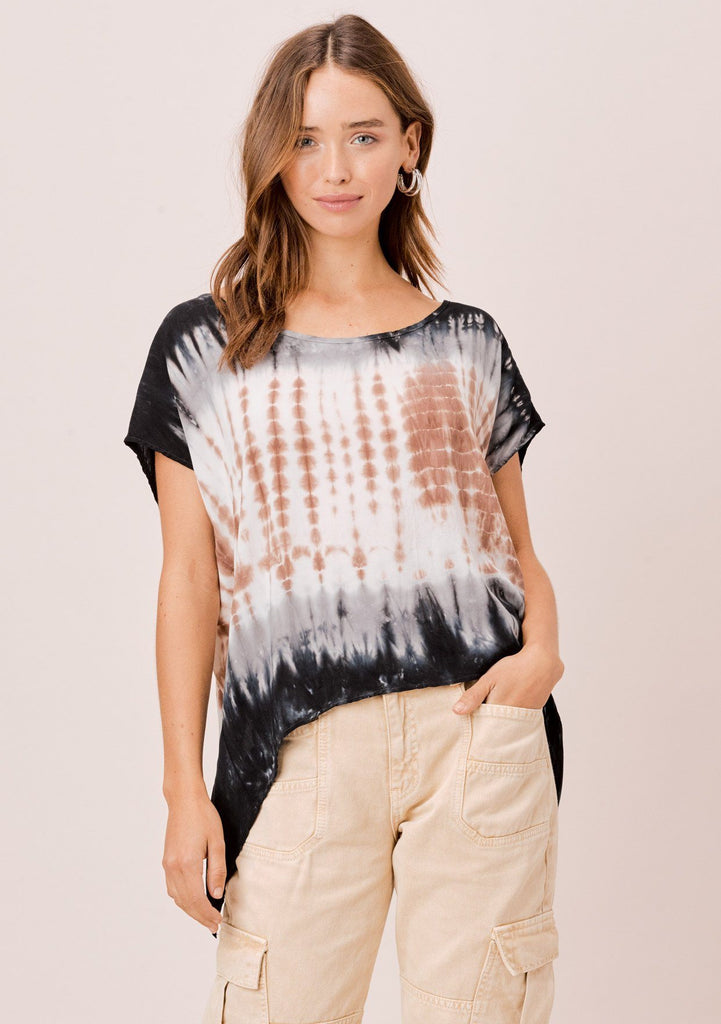 [Color: Navy/Brown/Beige] Lovestitch Casual and cool tie-dye top with diagonal seam features a unique open back and  chic tie-dye design. Beige and blue tie-dye