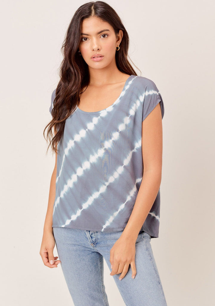 [Color: Blue/White] Lovestitch blue/white short sleeve, tie-dye top with diagonal seam, open back detail.