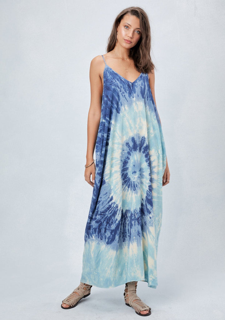 [Color: Royal/Sky] Lovestitch best selling, harem maxi dress in super soft modal with functional pockets