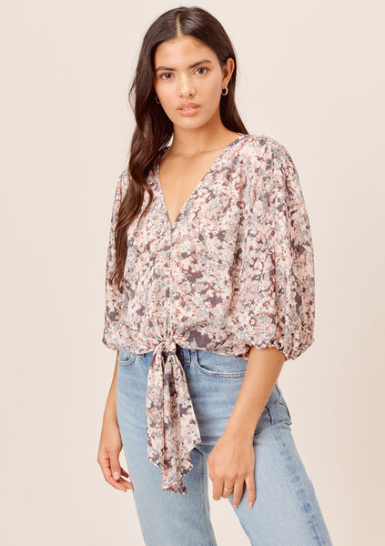 Zoi Floral Volume Sleeve Top