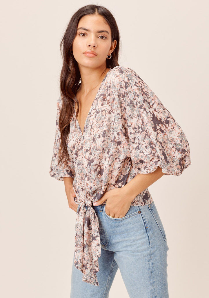 [Color: Charcoal/Fog] Lovestitch charcoal/fog floral tie front top with short volume sleeve