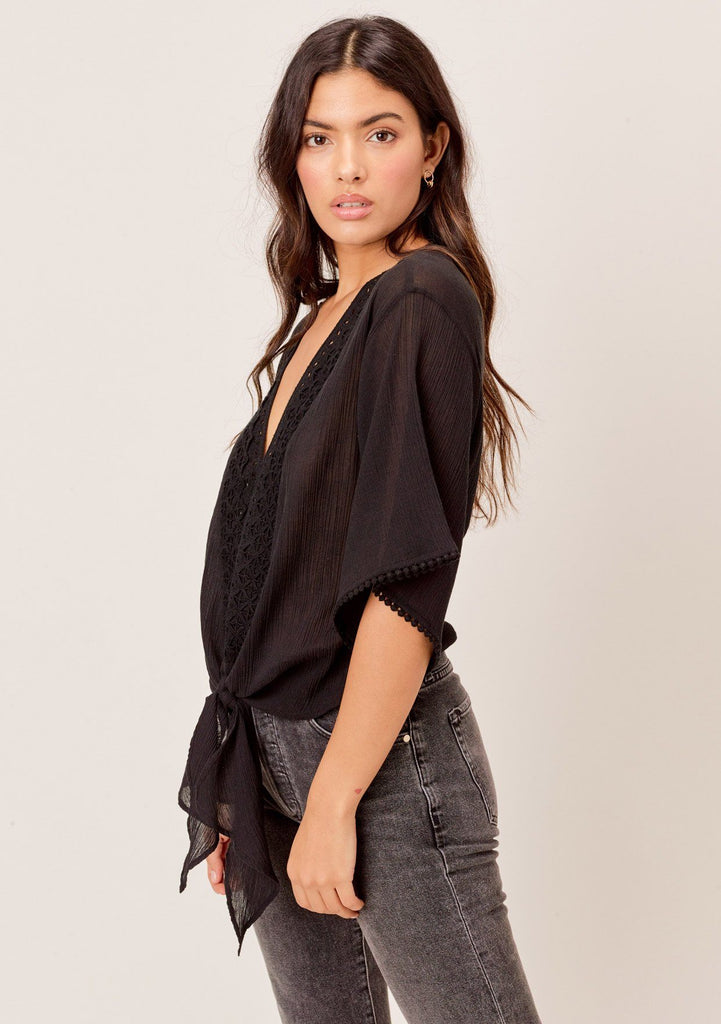[Color: Black] Lovestitch black Lightweight crinkle cotton, eyelet trimmed top with tie detail at the waist.