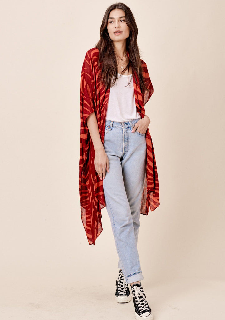[Color: Brick/Spice] Lovestitch brick red sheer, zebra stripe, flowy kimono.