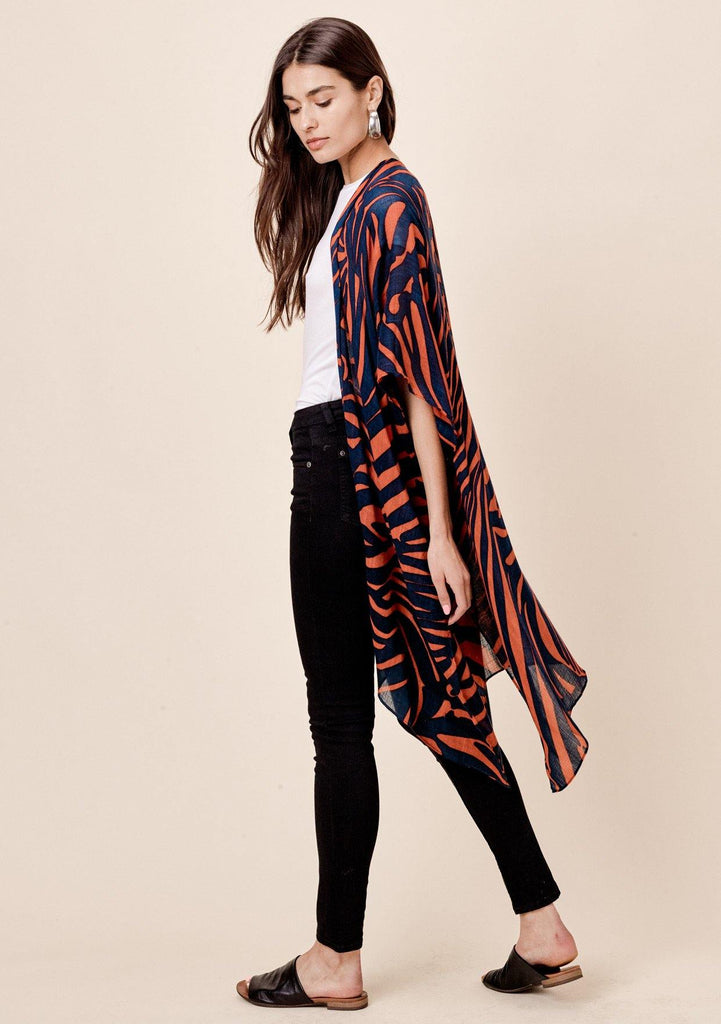 [Color: Midnight/Rust] Lovestitch midnight navy sheer, zebra stripe, flowy kimono.