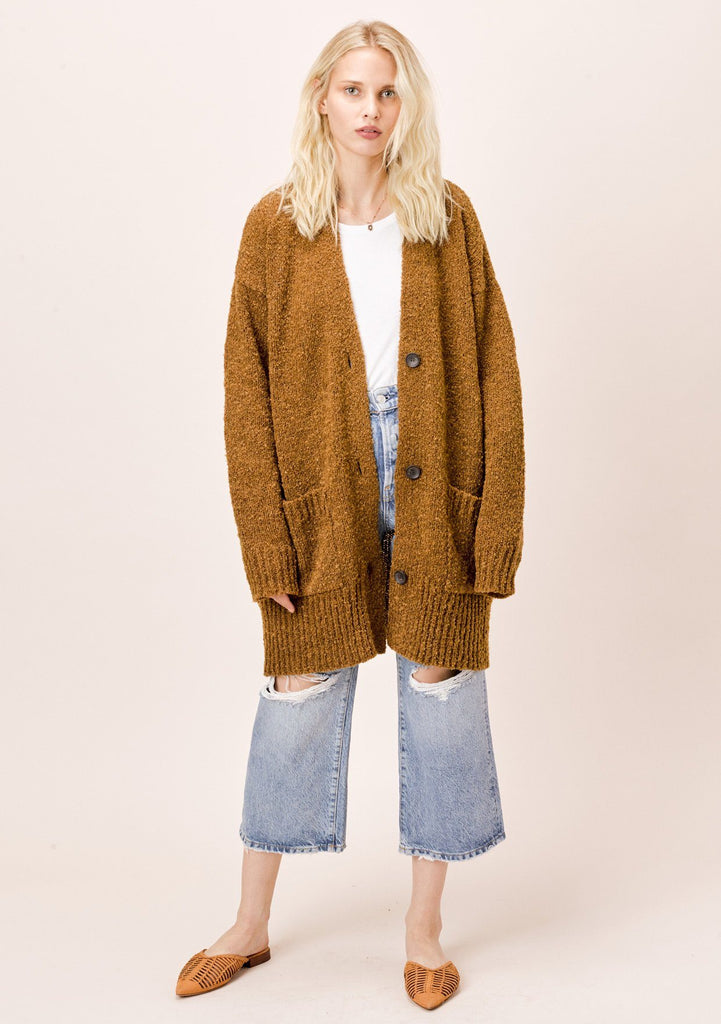 [Color: Tobacco] Lovestitch cozy oversize, tobacco boyfriend cardigan
