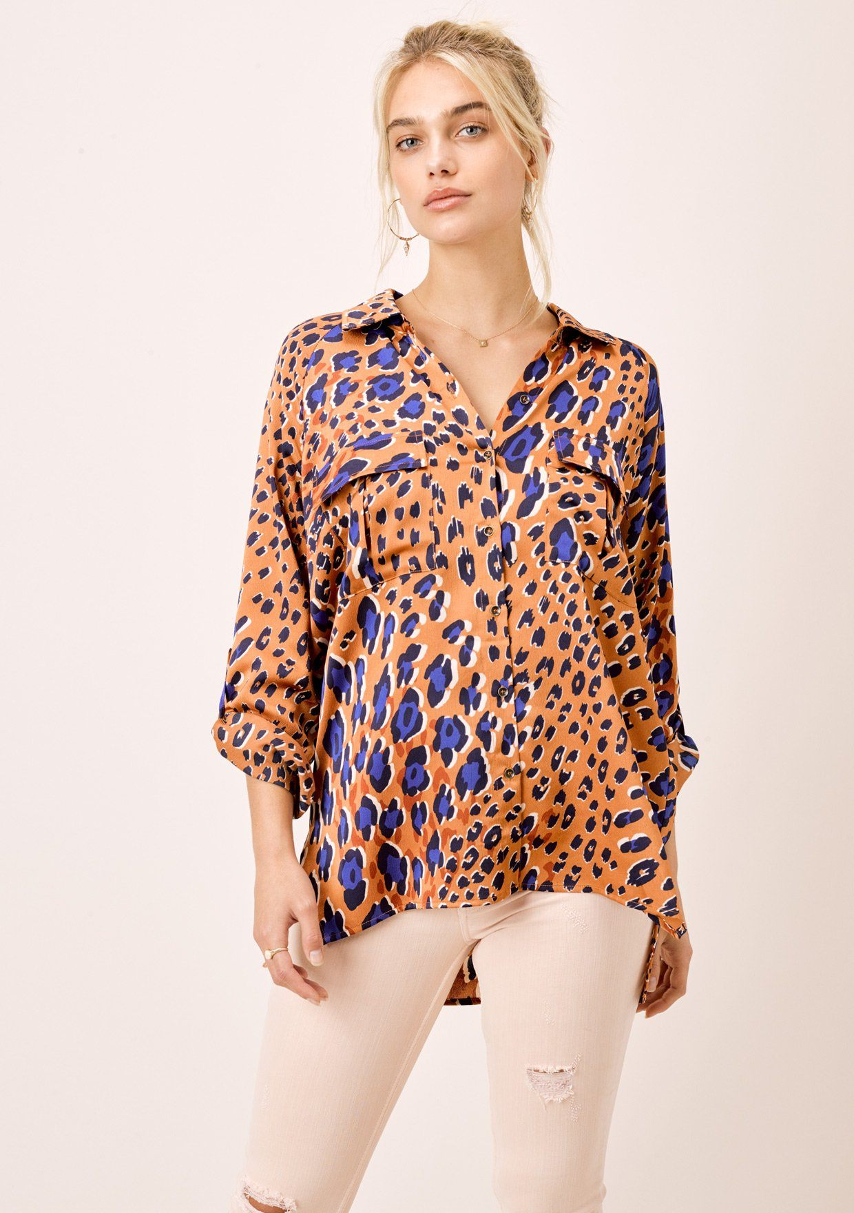 [Color: Tobacco] Lovestitch Safari Leopard Printed Buttondown Shirt