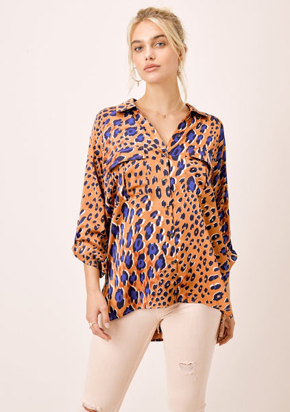 Simone Animal Print Buttondown