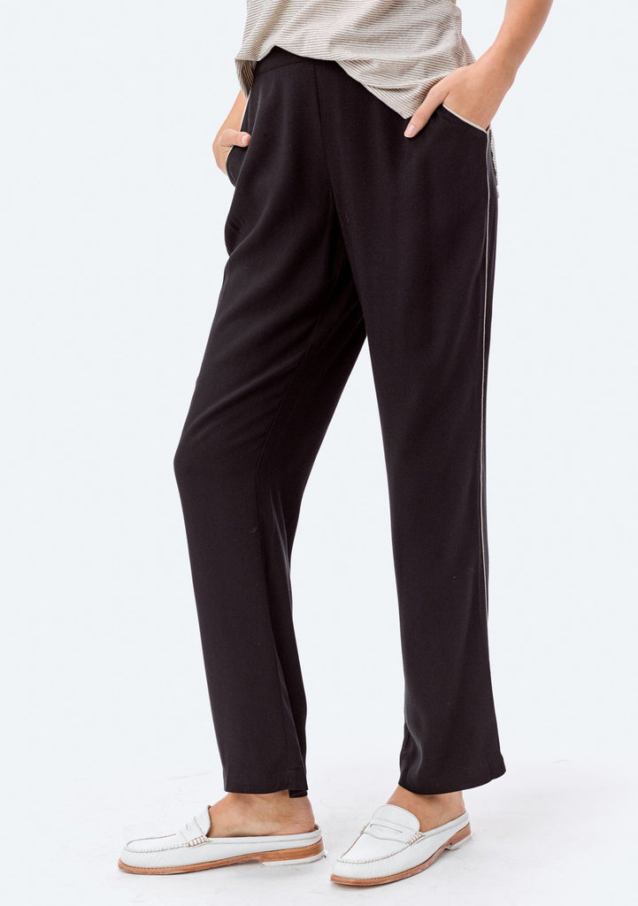 [Color: Black/Bone] Lovestitch relaxed fit, rayon twill pant