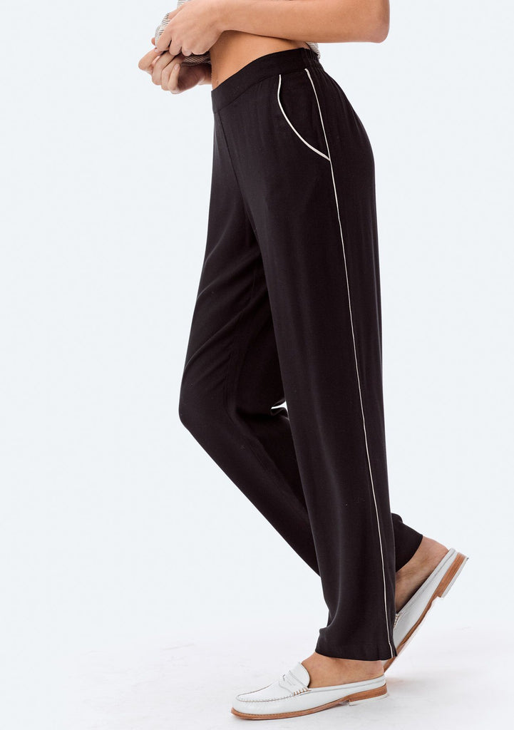 [Color: Black/Bone] Lovestitch relaxed fit, rayon twill pant can be casual or dressed up