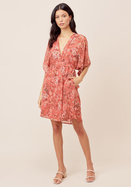 Whitney Kimono Sleeve Floral Mini Dress