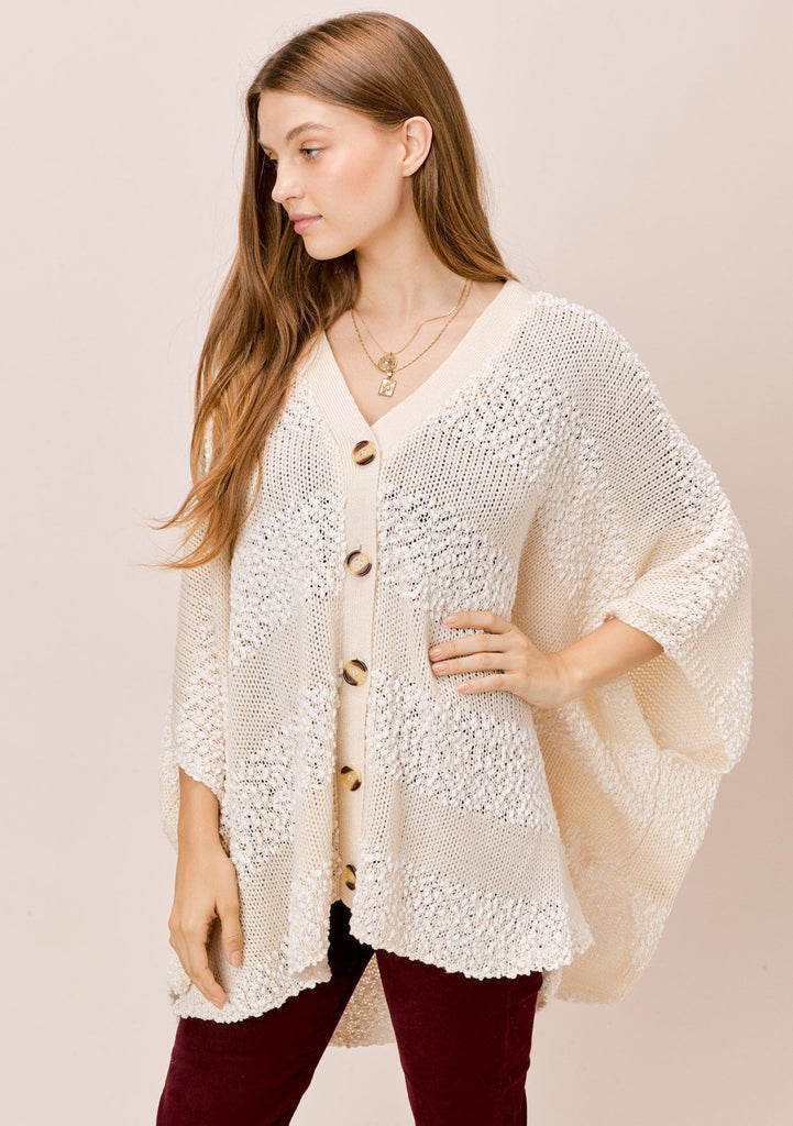 [Color: Natural] Lovestitch natural offwhite Oversized, popcorn stripe, button down, poncho style cardigan.
