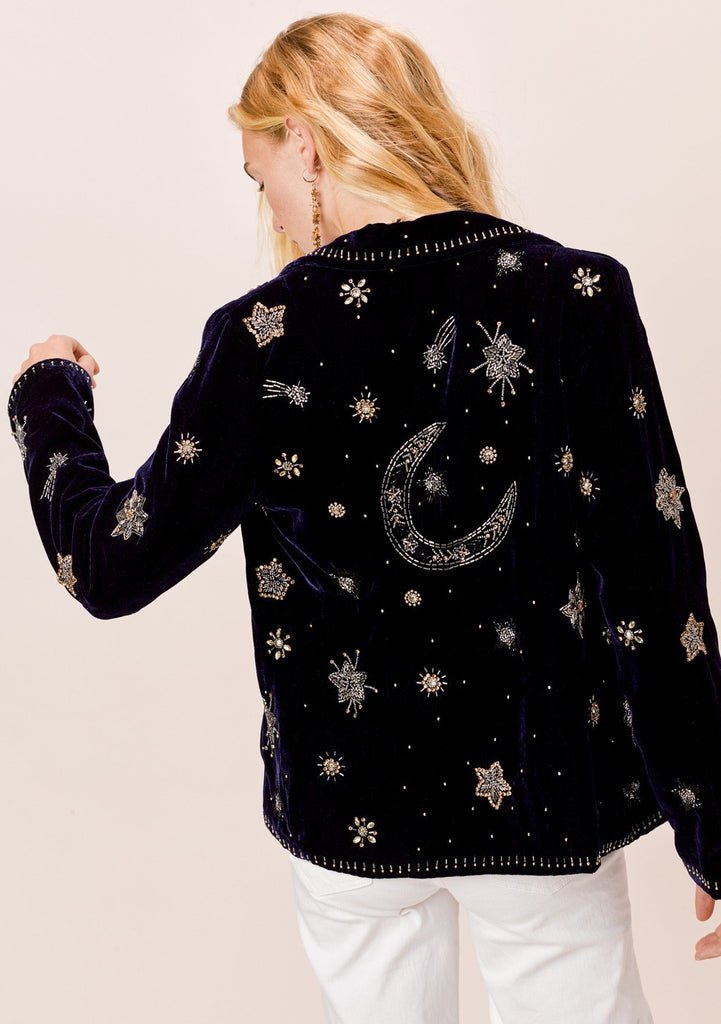 [Color: Ink] Lovestitch midnight blue ink colored velvet notch collar blazer with celestial beaded motif