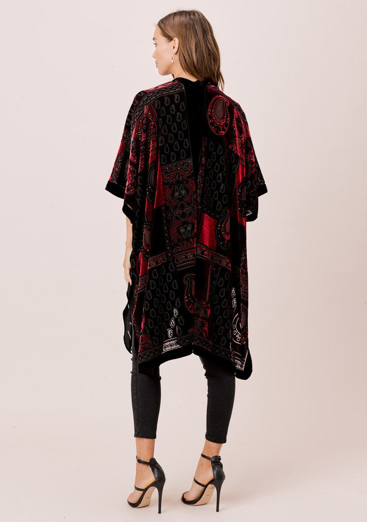 [Color: Burgundy/Black] Lovestitch gorgeous, festive, velvet kimono with side slits.