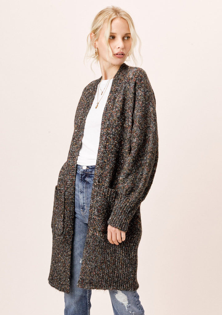 [Color: Black Multi] Lovestitch multicolor black open cardigan with volume sleeves.