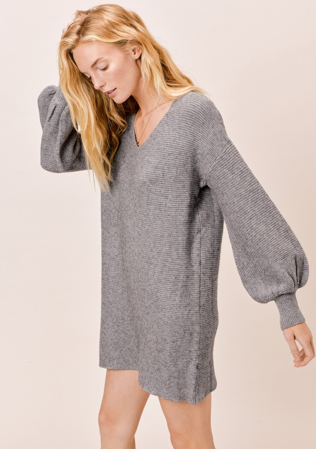 [Color: Heather Charcoal] Lovestitch heather charcoal, ribbed sweater dress with volume lantern sleeves.