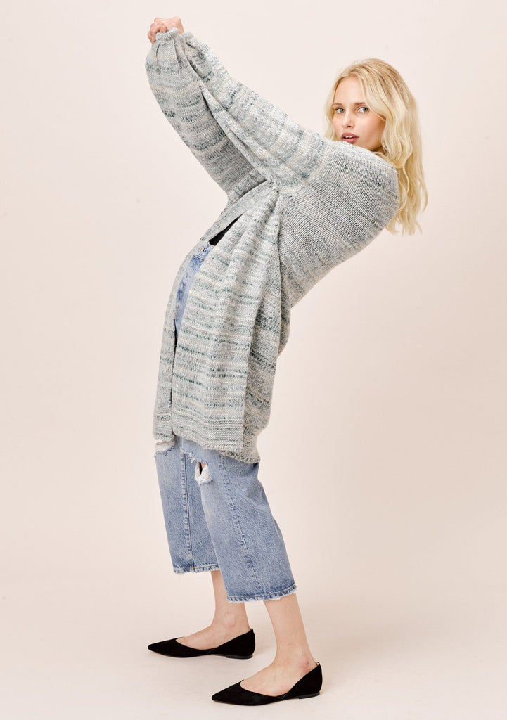 [Color: Seafoam Multi] Lovestitch Open Cardigan with Volume Balloon Sleeve