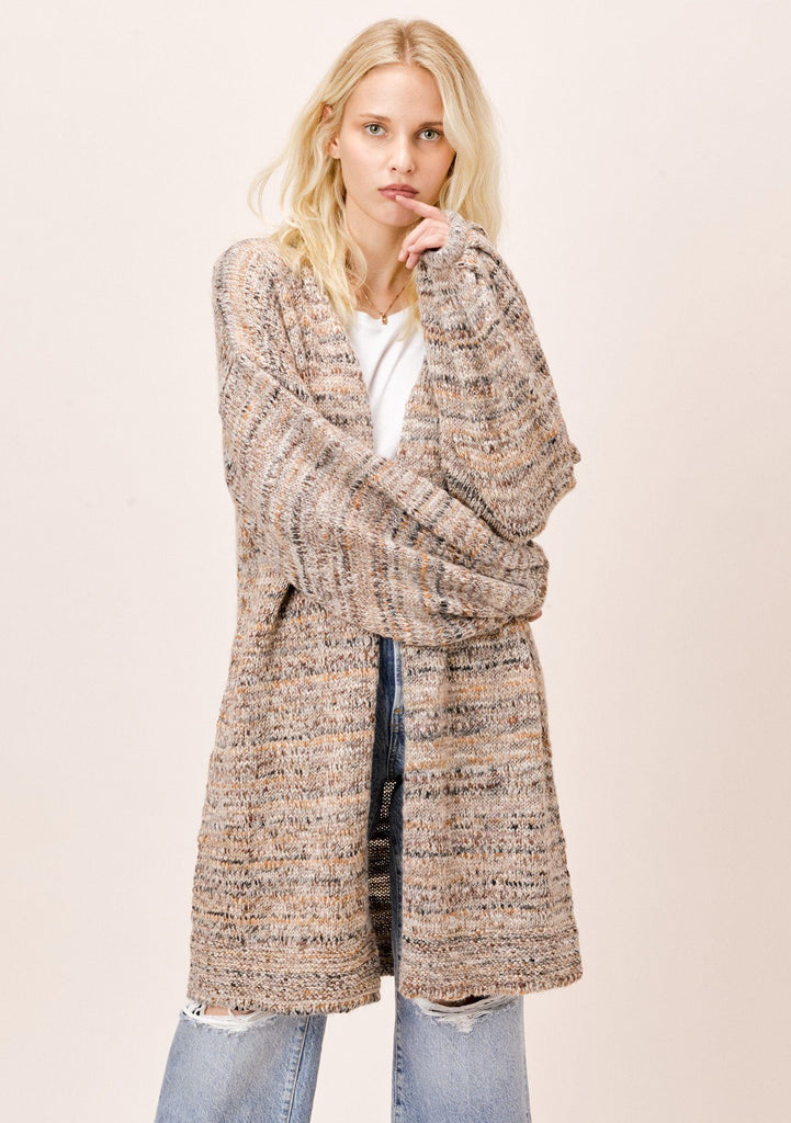 [Color: Camel Multi] Lovestitch Camel Open Cardigan with Volume Balloon Sleeve