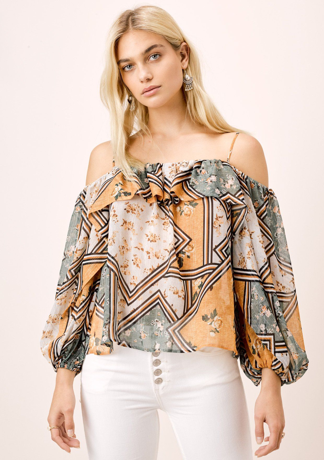 [Color: Retro/Gold] Lovestitch patchwork floral scarf printed, volume sleeve cold shoulder blouse.